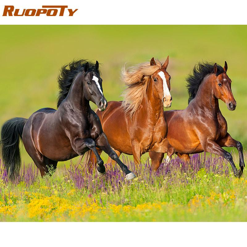Cheap Painting & Calligraphy RUOPOTY 60x75cm Frame Diy Painting Kit Horse Coloring By Numbers Modern Wall Art Picture By Numbers