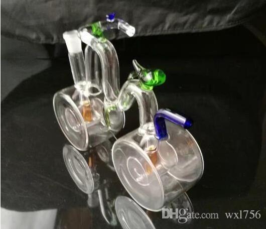 Acessórios bongos de vidro hookah de forma de bicicleta, Novo Bongo de vidro plano TopThick inferior com balde de mel Junção de geada para Bongo de vidro