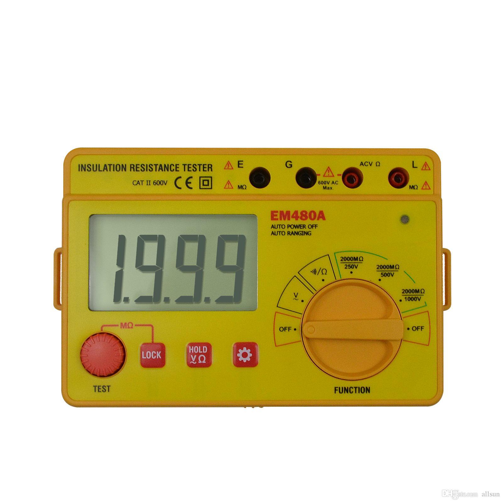 الرقمية برو عزل المقاومة اختبار متر العرض LCD عالية المقاوم Megohmmeter فرط جهاز قياس المقاومة جميع صن EM480A