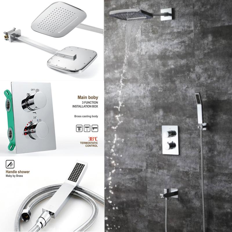 2019 Novelty Design Bathroom Shower,Embed Wall Mounted Shower Head Rainfall Waterfall Shower Faucet Kit With Thermostat Valve Controller