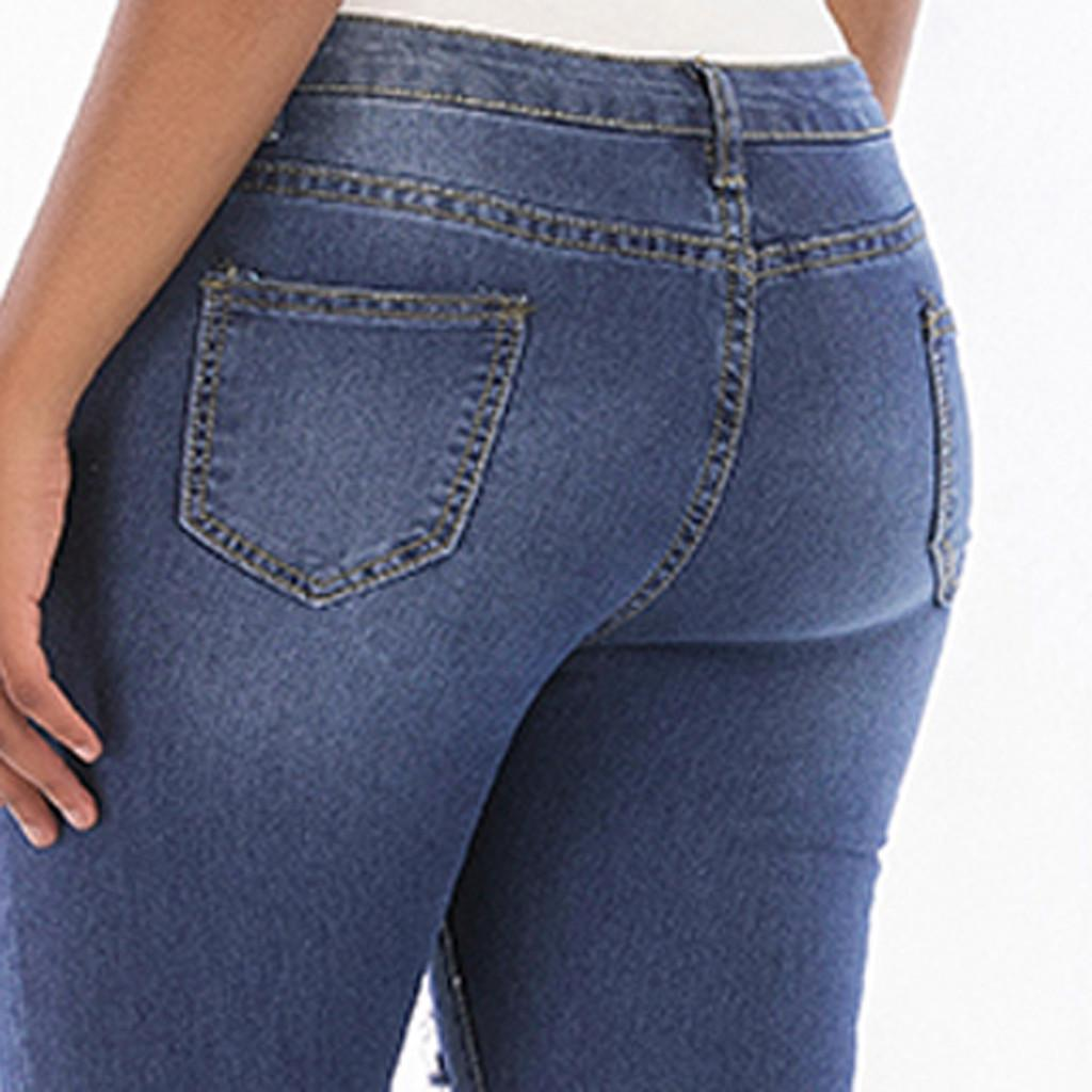 Ladies'holes denim trousers women 2019 In Solid Colours denim shorts female Sraight jeggings jeans for women vaqueros mujer #G6