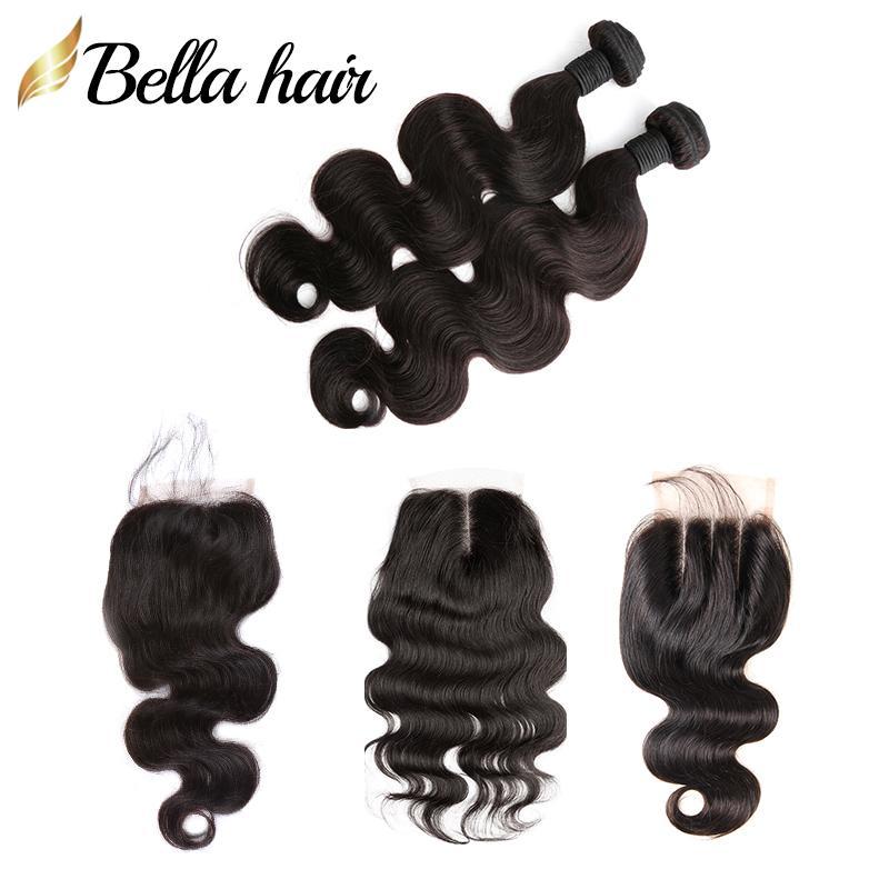 Malaysian Jungfrau Menschliches Haar Bündel mit Verschluss Körperwelle Top Spitze Verschluss 4x4 Freies Teil Mittelteil 3 Teil Haar Weft Verlängerung Bellahair