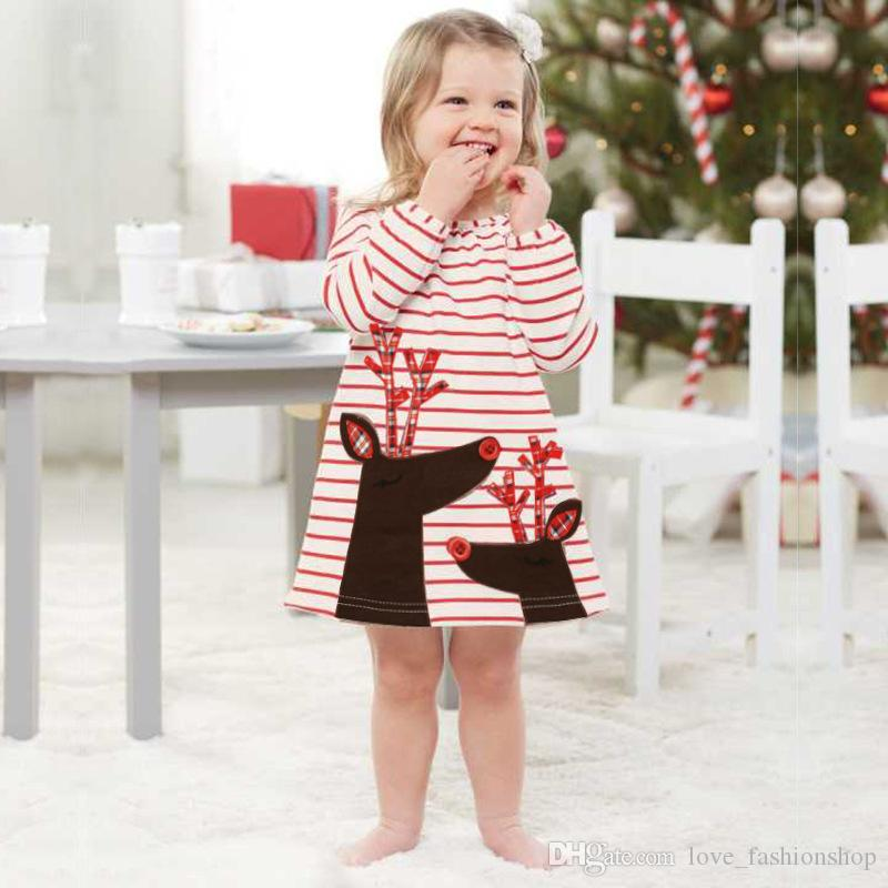 التجزئة طفلة مصمم الملابس السنة الجديدة عيد الميلاد شريط الغزلان سانتا كلوز appliqued الكرتون القطن الأميرة اللباس طفلة الفساتين