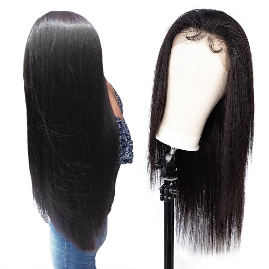 Pelucas delanteras brasileñas del cordón humano del cordón 360 Pre peluca frontal del cordón de la rayita desplegada con el pelo del bebé para las mujeres Remy