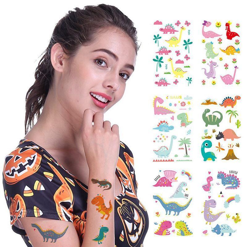 1 ورقة الديناصور ماكياج المؤقتة الوشم ملصق لطيف وهمية الوشم فلاش TATTO الجسم للماء الفنية الصغيرة للأطفال