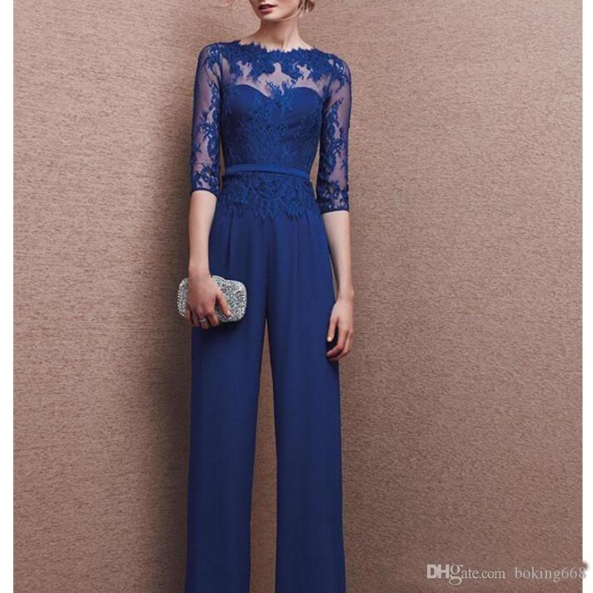 2020 Latest Elegant Design Mother Of The Bridal Suits Chiffon Women's Evening Wears With Lace Work Jumpsuit Plus Size Custom Made Cheap