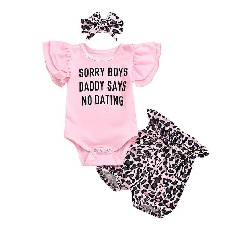 Ins 2020 été imprimé léopard tenues mignon nouveau-nés filles costumes de bébé barboteuses + short + arcs bandeau 3pcs / set vêtements bébé fille de B797