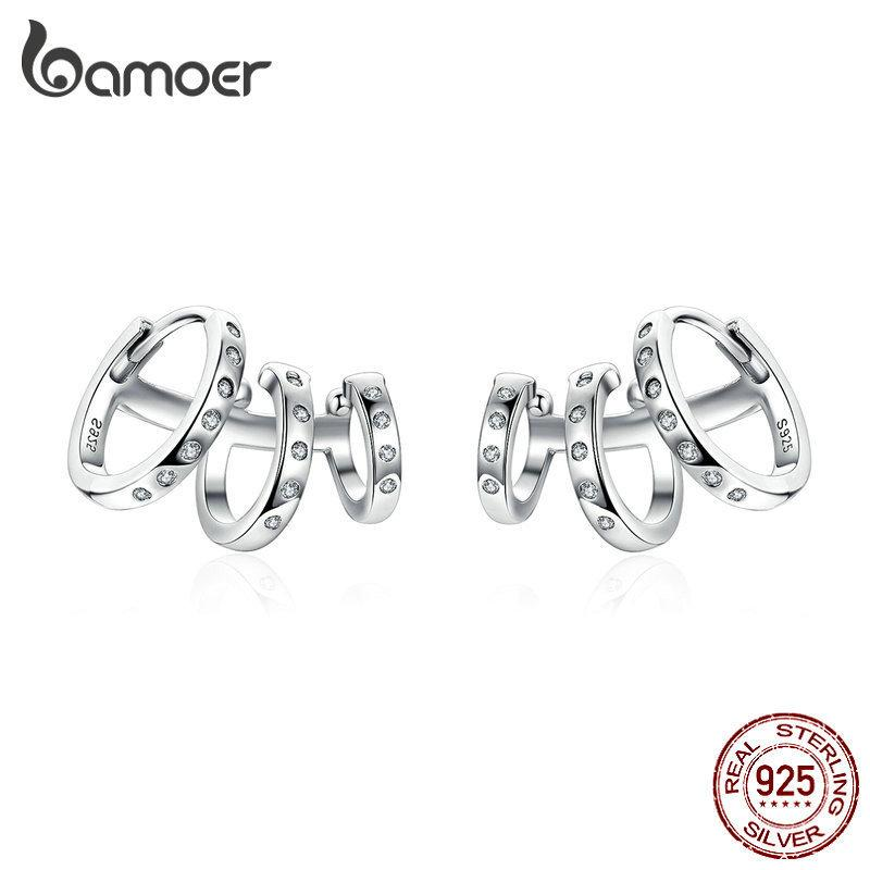Bamoer Ear Cuff Genuine 925 Sterling Silver Punk Tirple Circle Hoop Earrings For Women Ear Clips Chic Fashion Jewelry Bse085 Y19052401