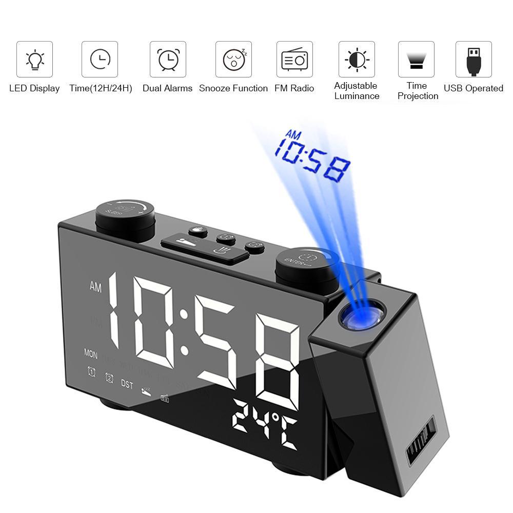 Alarme Horloge numérique FM Projection Radio-réveil avec Snooze Thermomètre Horloge de table USB LED Réveils Accueil Décoration Y200110