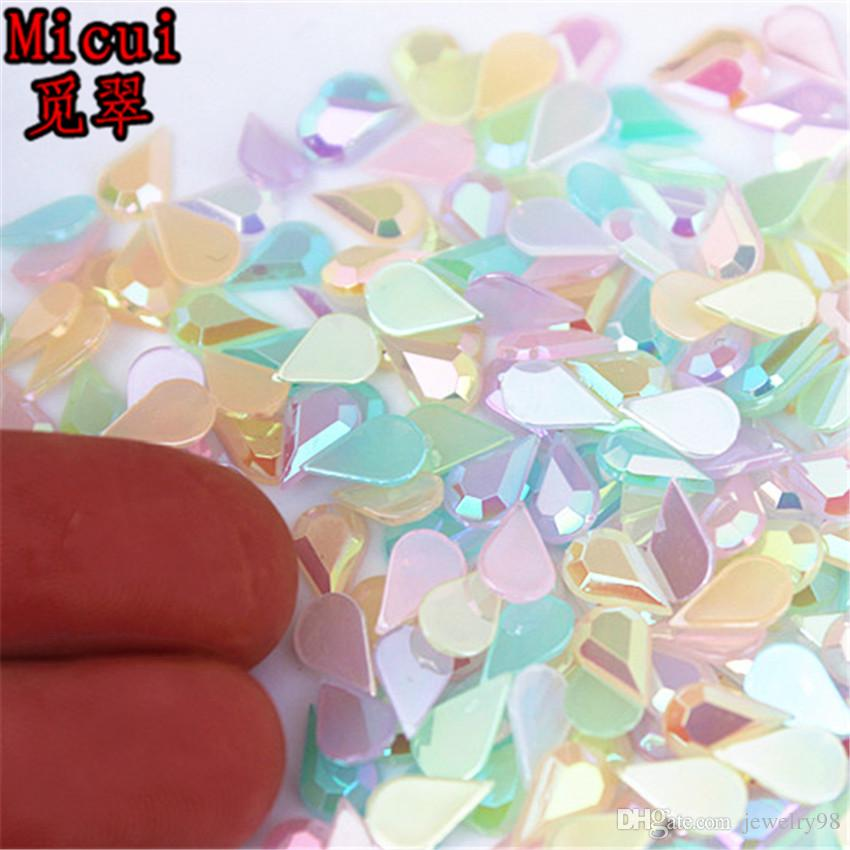 Micui 500pcs 4*6mm jelly Color Drop Flat Back Acrylic Rhinestones Crystal Stones Non Sewing for Nail Art Clothes DIY DH760