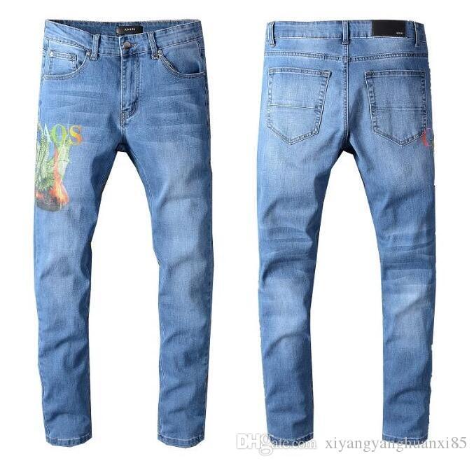 calças de brim HOT Mens Skinny para homens rasgado buracos calças jeans motociclista Denim Men moda Designer de Hip Hop Mens Jeans calças compridas 501