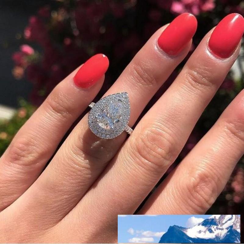 الحجم 6-10 مجوهرات مذهلة 925 Stearling فضية قطرة الماء الأبيض توباز CZ الماس حزب الأحجار الكريمة المرأة الزفاف خاتم الزفاف هدية
