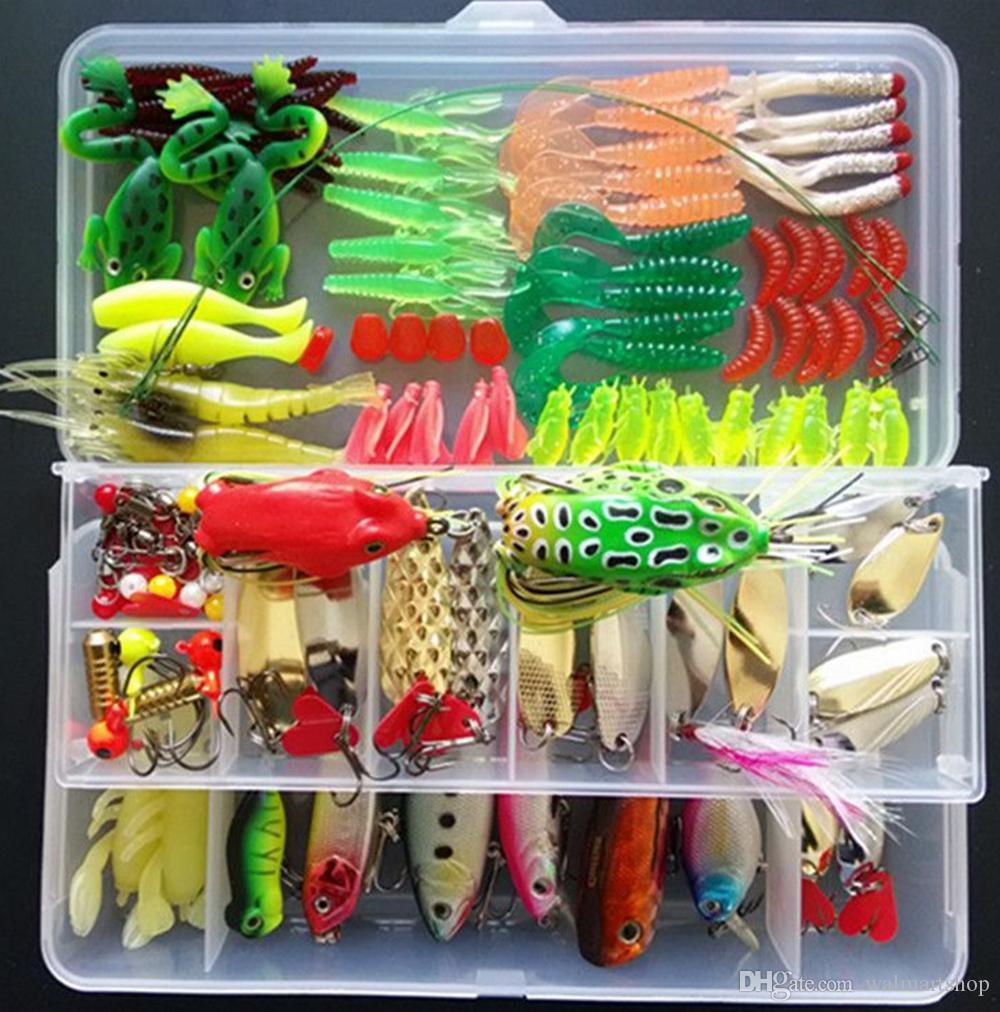 132pcs Fishing Lure Set compreso plastica morbida della rana cucchiaio rigido Lures Popper Crank Rattlin Trota Bass Salmon And More OUT16