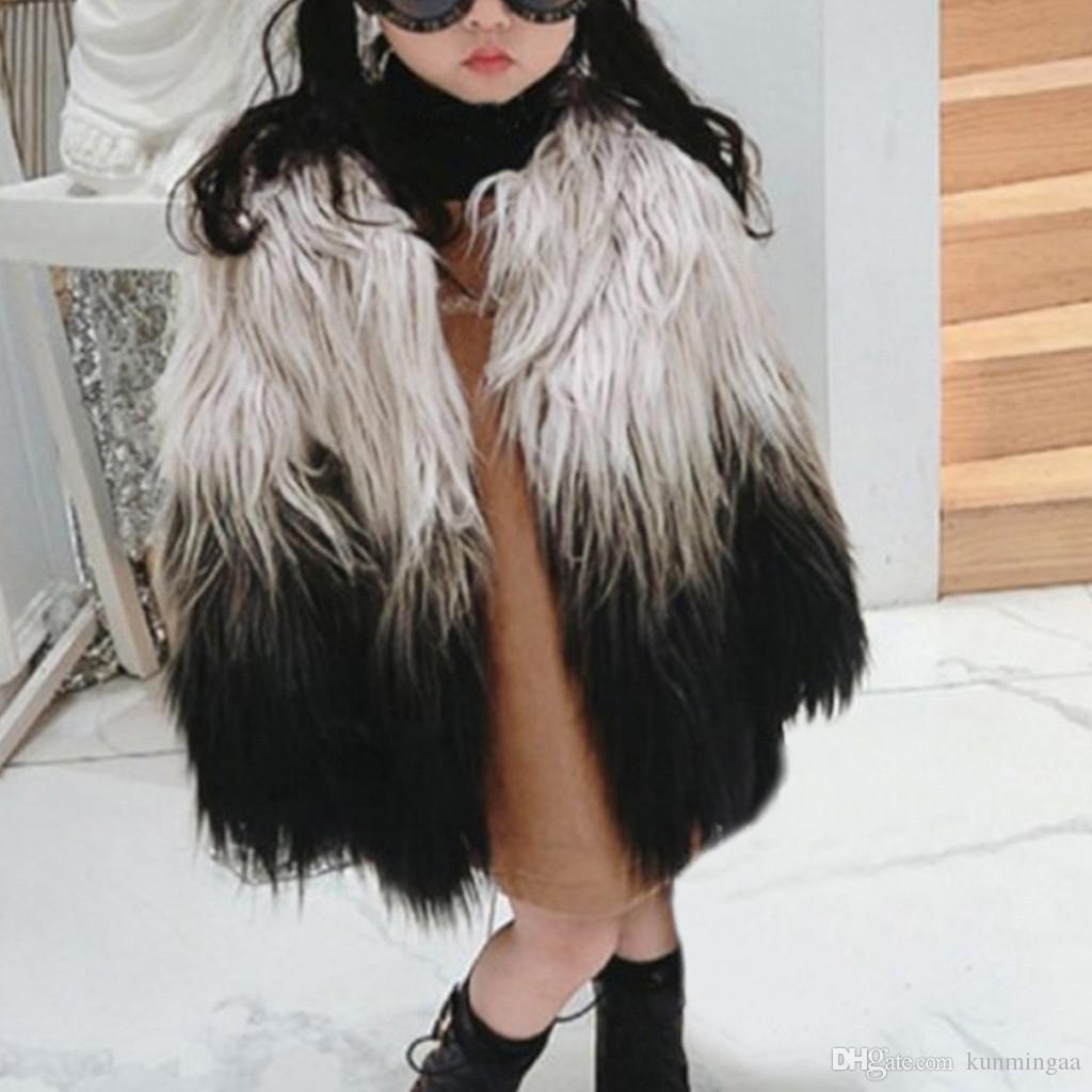 Vêtements bébé fille fausse fourrure dégradé hiver manteau chaud mignon vêtements épais enfant en bas âge Vêtements fille Enfant Vetement