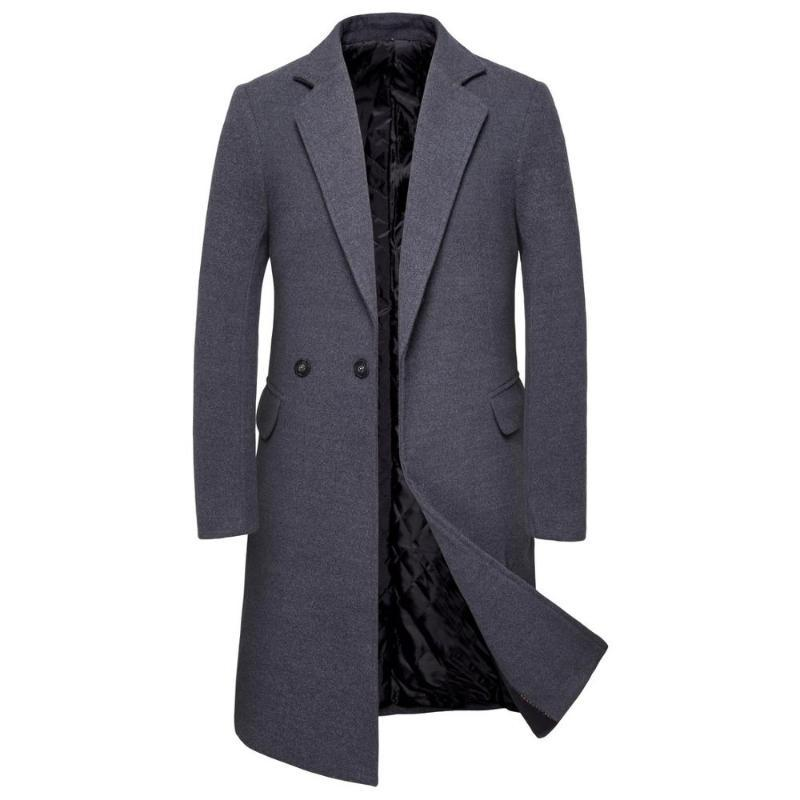 Winter Woolen Coat Male Double Breasted Overcoat Wool Men Coat Black Long Sleeve Thick Warm Blend