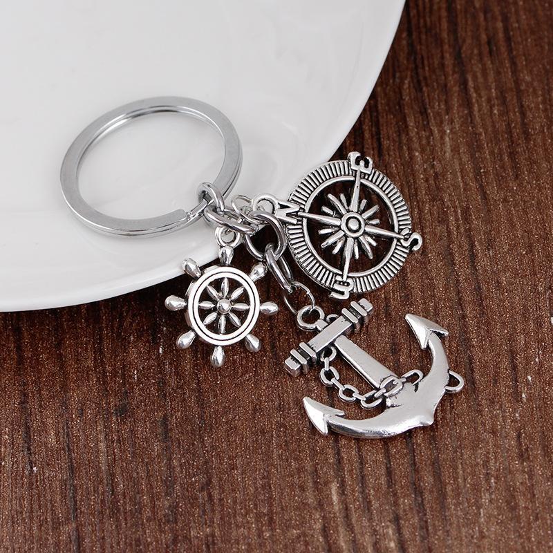 24 Pcs / Lot Keychain Trinket Cadeia Retro Compass Anchor Key Leme chave do vintage anel de prata âncora Souvenirs grosso granel