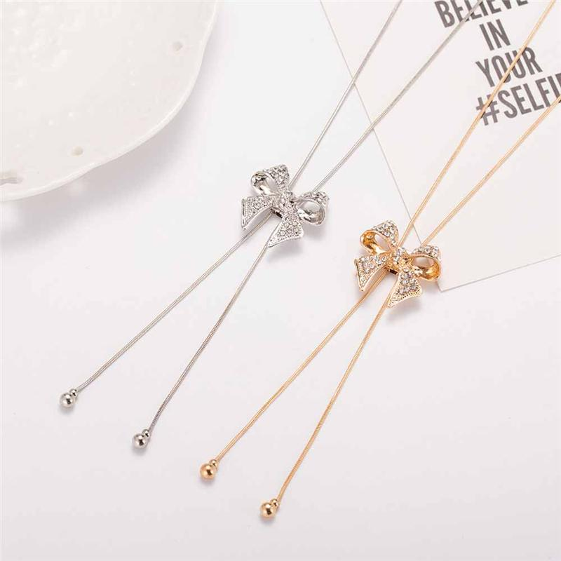 2020 New Arrival Fashion Women Crystal Butterfly Pendant Necklace Long Tassel Sweater Chain Necklace Female Jewelry Wholesale