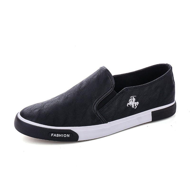 Erkekler Flats 39-45 XZ-029 için 2019 Moda Erkek Ayakkabı Açık Erkekler loafer'lar Yürüyüş Ayakkabı Siyah Erkek Casual Deri Ayakkabı