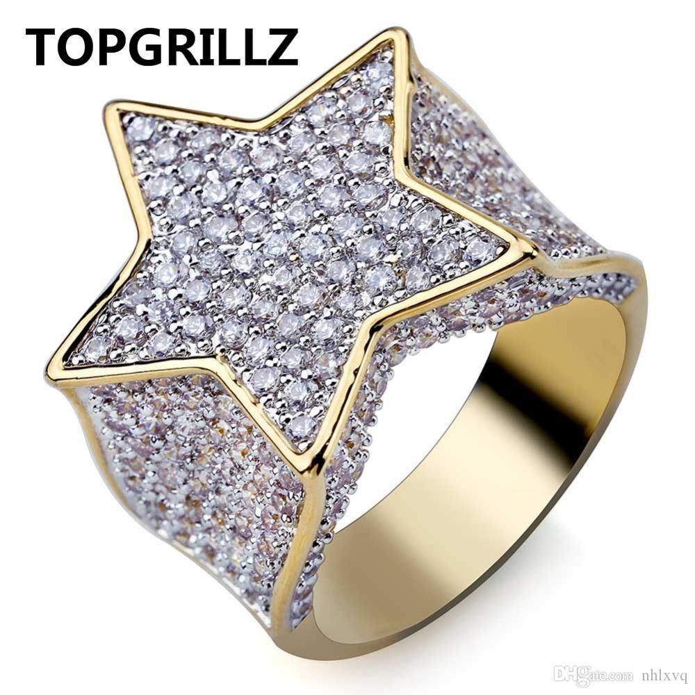 2017/18 TOPGRILLZ Hip Hop Nuevo anillo de estrella chapado en color dorado personalizado Todo helado CZ Anillos de piedra Encanto para mujeres Hombres Bling Party Jewelry