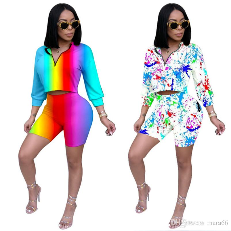Women 2 piece set sweatsuit colorful striped print zipper stand collar 3/4 sleeve t-shirt skinny mini shorts jogger suit summer clothing 714