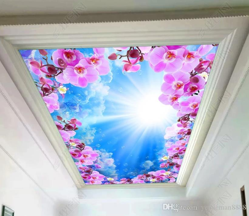 Custom ceiling photo Wallpaper Blue sky and white clouds Wallpapers For Living room Wall papers Home Decor brick wallpaper 3d