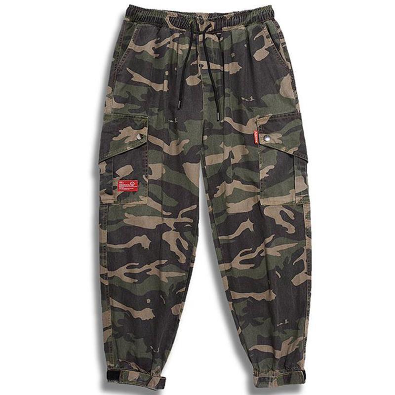 Retro Mens Calças Elastic cintura baixa Hip Hop camuflagem calças cargo Corredores Harajuku Calças Streetwear Big bolso Camo