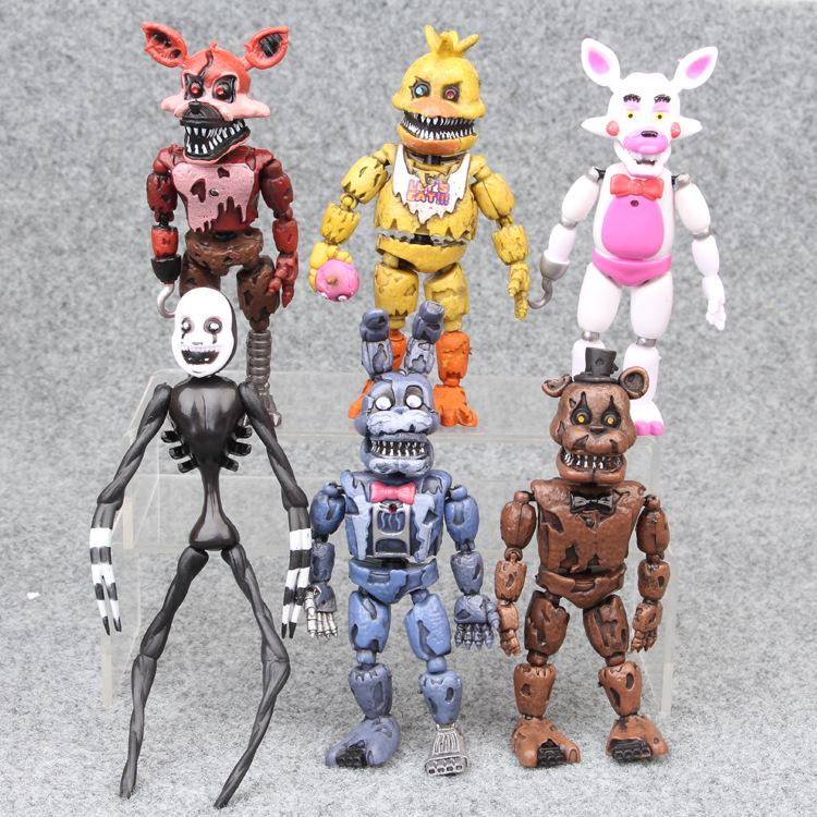 6PCS Five Nights At Freddy's Figures Bear Doll 14-17cm Light Blocking PVC FNAF Freddy Anime Vinyl Nendoroid action & toy figures Set M061