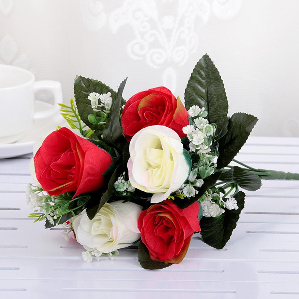 33cm Fiore artificiale Decorazioni per la casa Leggere 7 teste artificiali Matrimonio Rosa Alta qualità