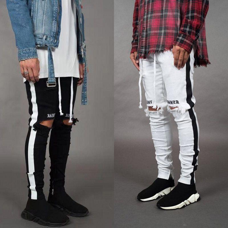 El diseñador de moda los pantalones vaqueros flacos de los hombres pantalones vaqueros elásticos rectos delgados pantalones casuales para hombre del motorista masculino Stretch Denim pantalones clásicos