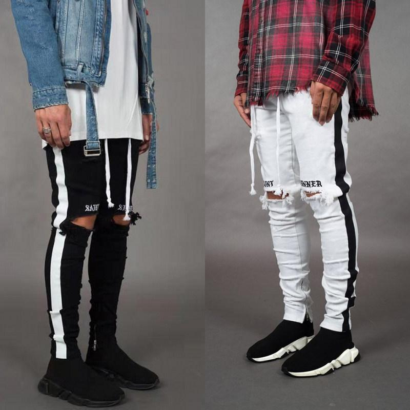Mode-Stylist-dünne Jeans Männer Gerade dünne elastische Jeans Mens-beiläufige Biker Male Stretch-Denim-Hosen Klassische Hosen
