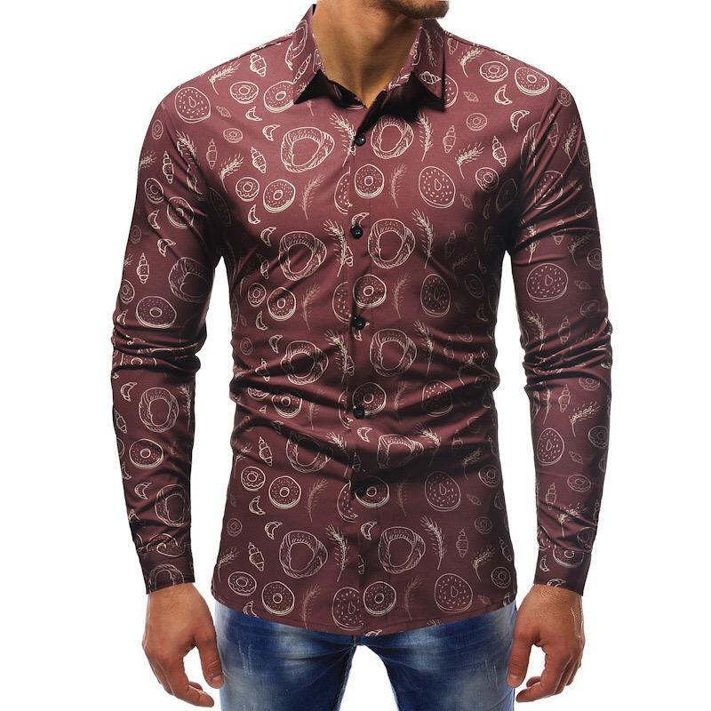 Camisas casuales para hombres Moda Primavera Otoño Hombres Camisa Slim Fit Flow Limpresión de manga larga masculina