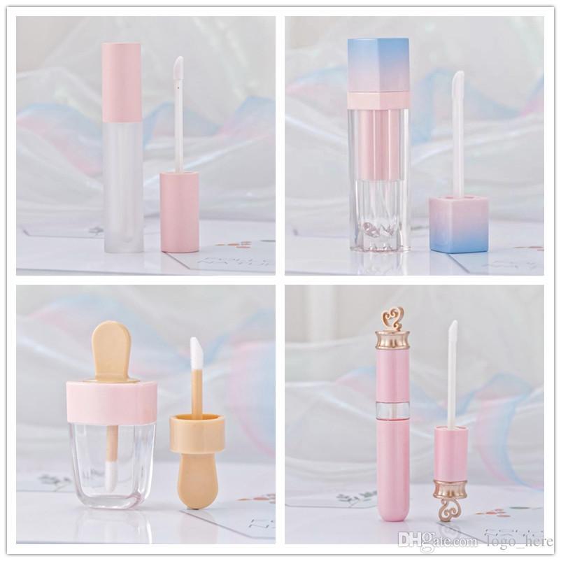 Rosa Lip Gloss Matiz Tons de Plástico DIY Maquiagem Vazia Grande Lipgloss Liquid Lipstick Embalagem de Beleza R0414