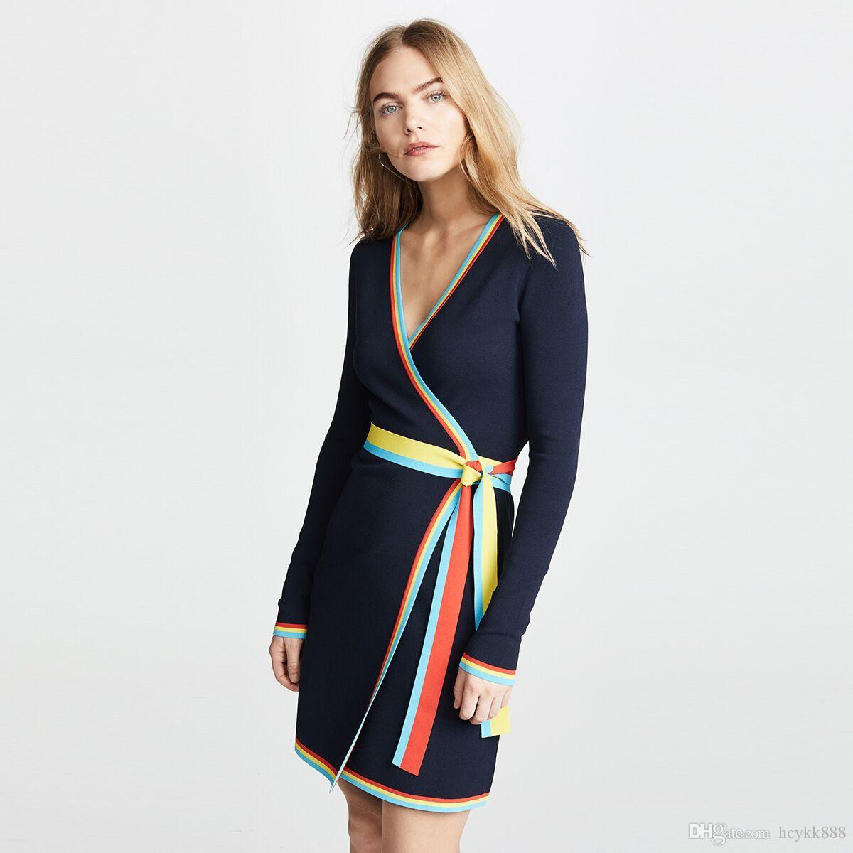 a36c2c0fe2b00 Kadın Sonbahar Örgü Triko Elbise 2018 Moda V yaka zıt renk sınır ile  Elastik Düz Renk ...
