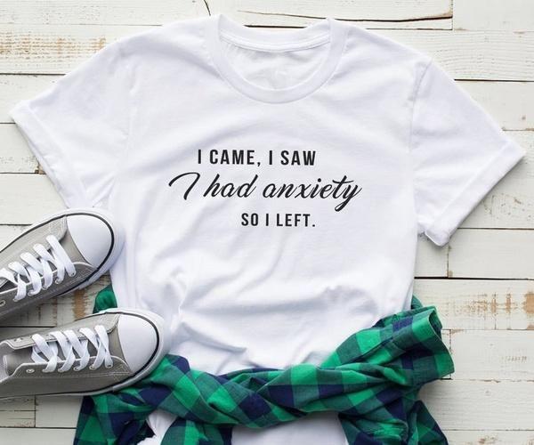 Женская я пришел, я увидел бы тревожность Так левой печати T Shirt Graphic Tee Весёлые футболки смешной гранж Tumblr хлопка Лозунг мать топ