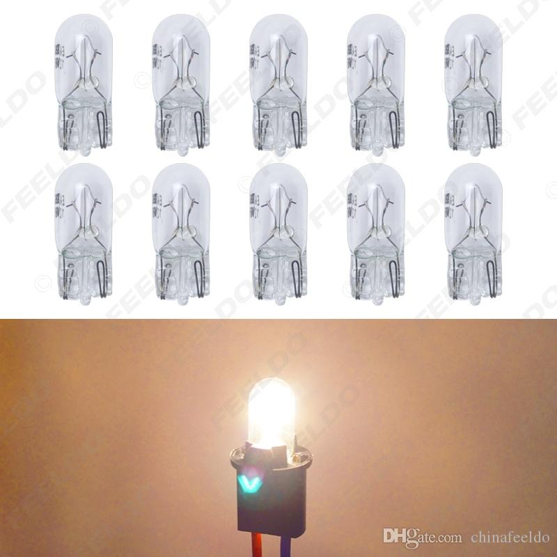 wholesale 10pcs/box Warm White Car T10 168 192 Wedge 12V 5W Halogen Bulb External Halogen Lamp Replacement Dashboard Bulb Light #2109