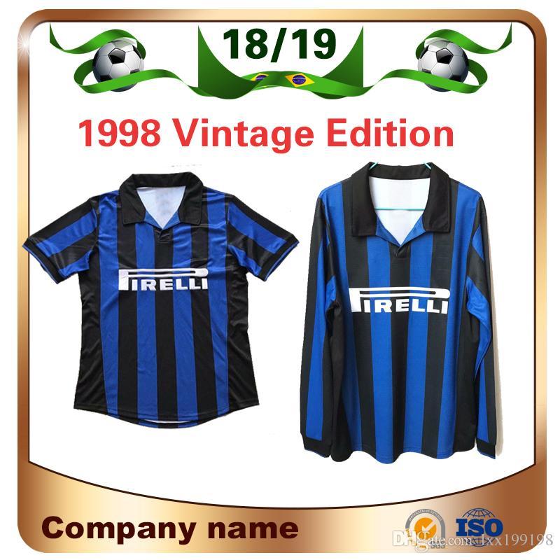 1998 밀란 아일랜드 레트로 축구 저지 1998/1999 홈 # 10 BAGGIO # 9 RONALDO 축구 셔츠 긴팔 축구 유니폼 판매