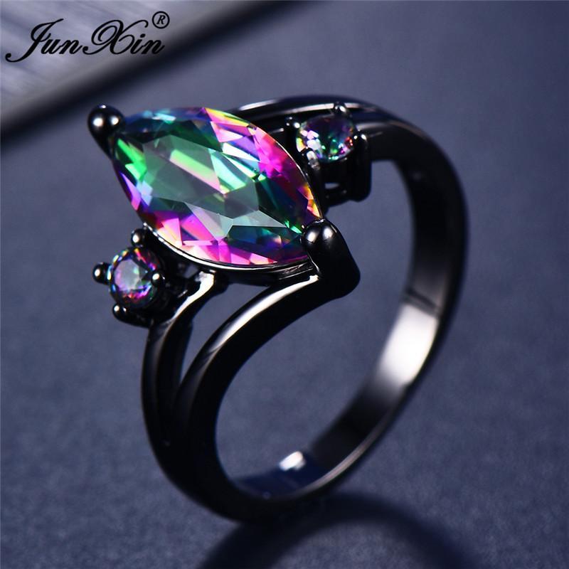 12 Farbe Einzigartiges Geheimnis Weibliche Mädchen-Regenbogen-Ring-Art 14KT Black Gold Schmuck Bohemian Vintage Wedding-Ringe für Frauen