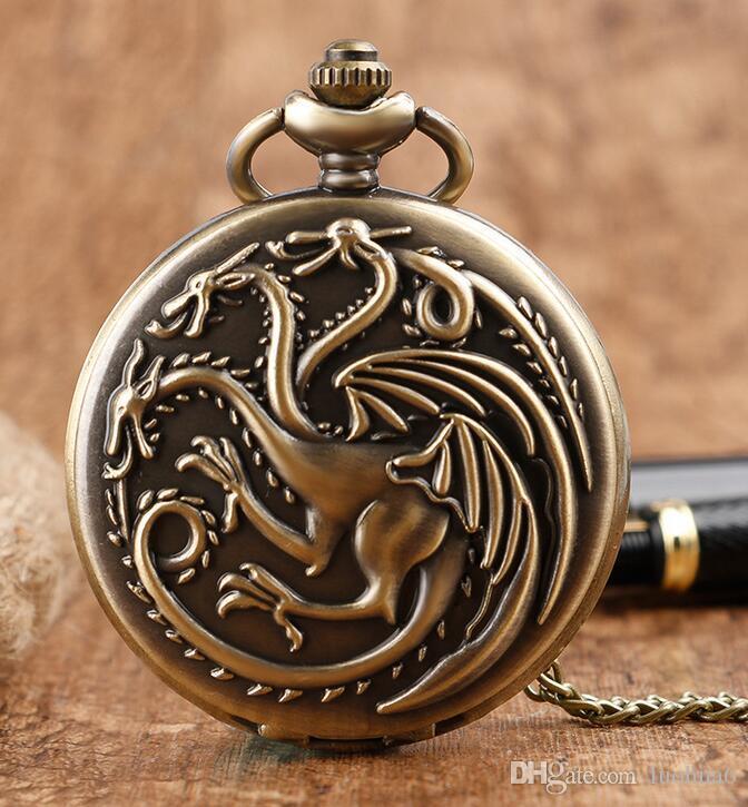 100% New Top Antique Pocket Watch Men's and Women's Power Game Theme Classic Bronze Quartz Watch Pendant Long Chain Necklace Children's1Gift