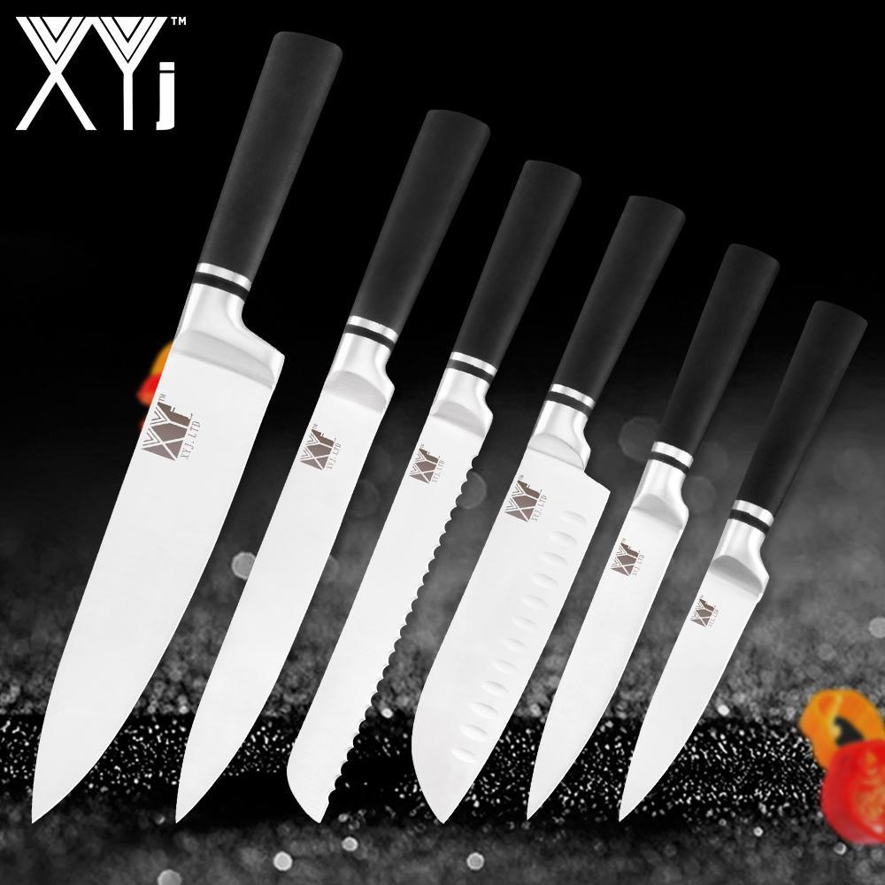 Juego de cuchillos de cocina XYj Juego de cuchillos de acero inoxidable Accesorios Utilidad de pelado de frutas Santoku Chef Cuchillos de rebanar Cuchillos de cocina Herramientas de cocina