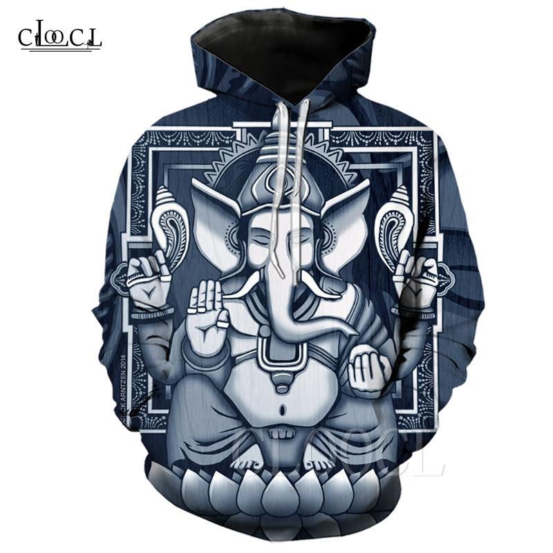 Ganesha Kapüşonlular Hip Hop Hoody Baskı 3D Hindu Tanrı Erkek / Bayan Sonbahar Kış Hoodie Sokak Stili Eşofman Fil başlı