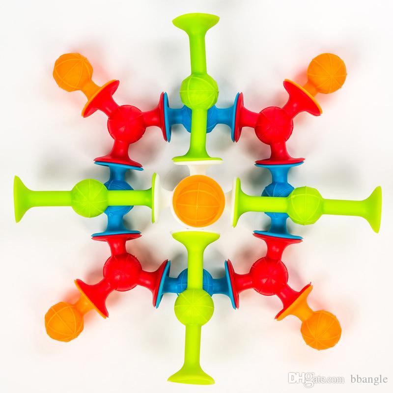 48PCS 빠는 장난감 실리콘 빌딩 블록 흡입 컵 재미 장난감 DIY 소년 소녀 키즈 아이 장난감 선물