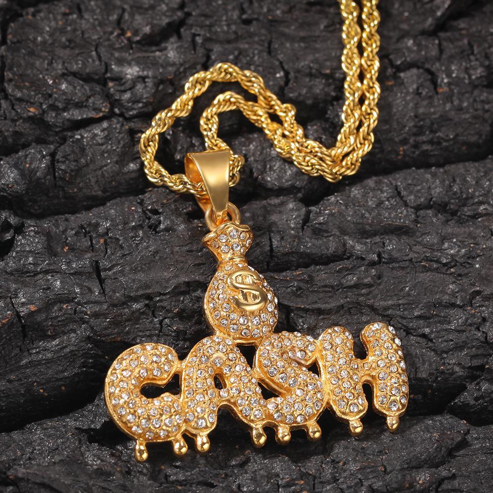 Hip hop fashion dollar bag CASH drop letter pendant stainless steel necklace