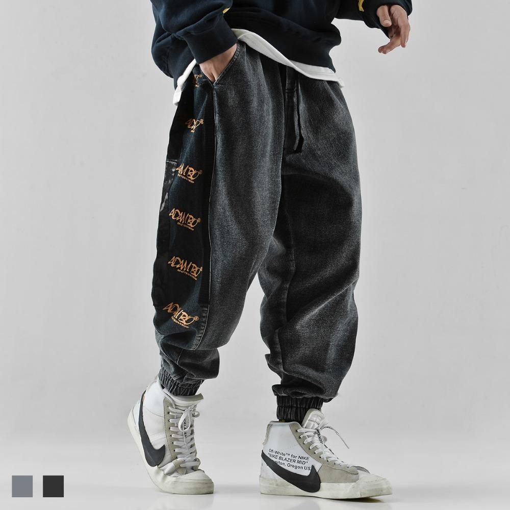 Hip hop jeans carta impressão calças largas tornozelo faixas calças estilo ocidental casuais calças dos homens moda de rua juventude