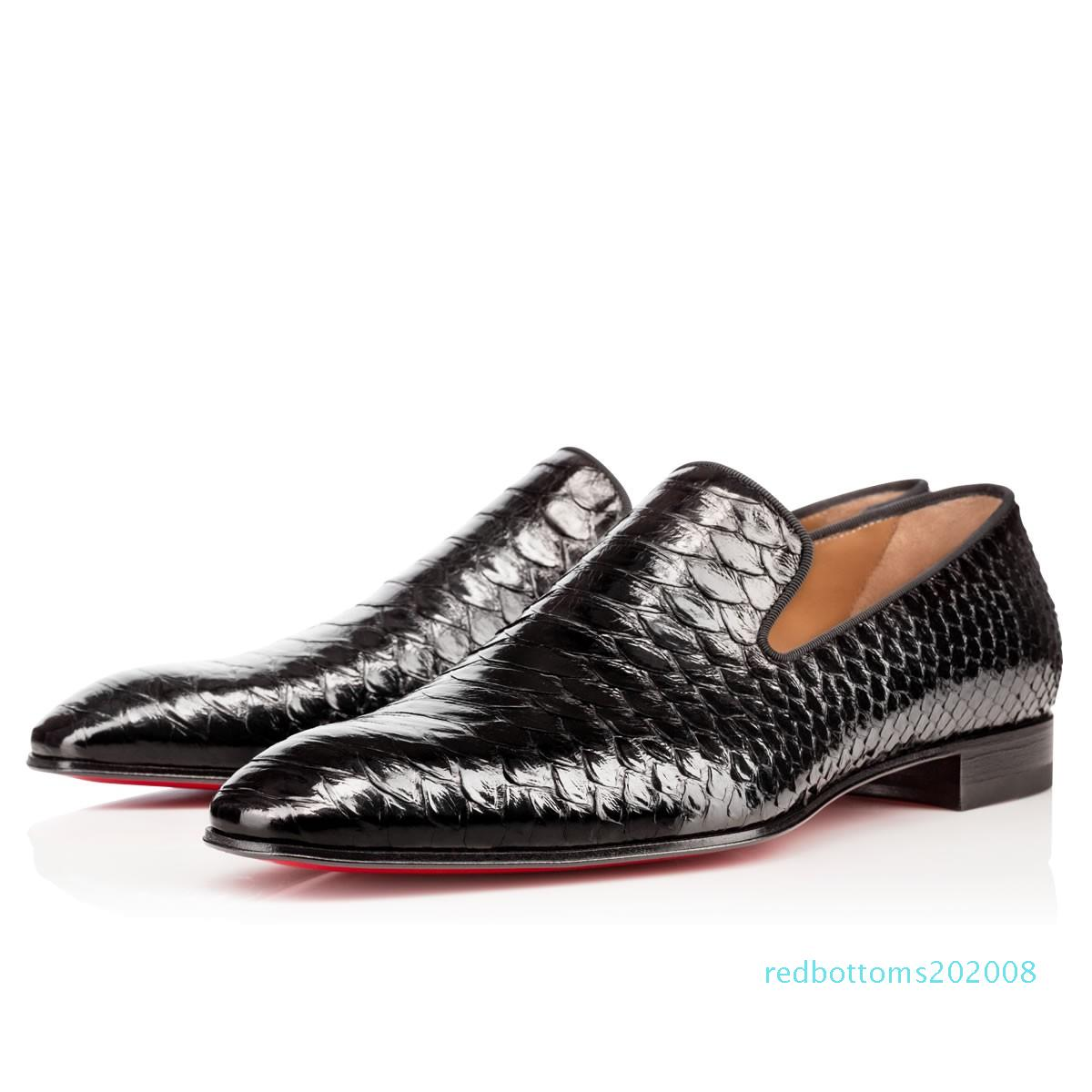 2019 Marque Rouge Bas Mocassins Luxury Wedding Party Chaussures Designer cuir verni noir Chaussures Robe Suede pour Slip Mens Flats R08