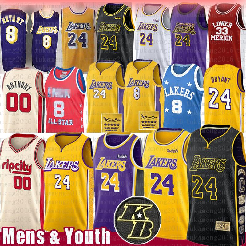 NCAA 00 Carmelo Anthony 8 24 33 Basketball Maglia Blazer LeBron James 23 bambini BRYANT Jersey Mens gioventù KB