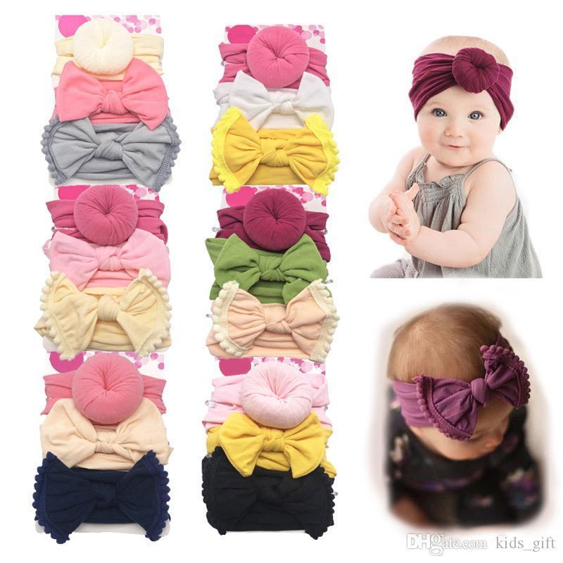 3pcs / set recém-nascidos Bebés Meninas Bow Turban Knot Bola Donut Headbands infantil do bebê Headwear Crianças Knot Headwear crianças Acessórios de cabelo LE349