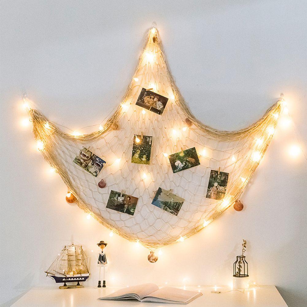 شباك الصيد الصدف الجدار الديكور منظم كلية الرئيسية حلية عمل فني معلق إطارات الصور العرض DIY بطاقات صور