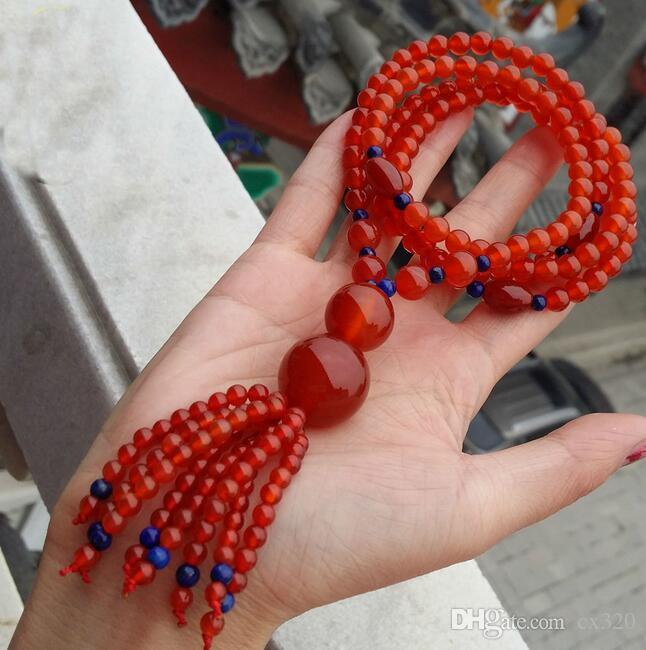 Chaîne de pull gourde en agate rouge naturelle tissée à la main Chaîne de pull en saphir Chaîne de pull en calcédoine