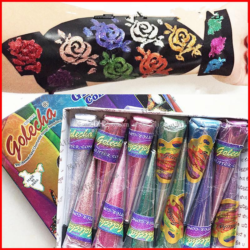 Indian Henna Tattoo Paste Women Makeup Glitter Shimmer Mehndi Body Art Paint Drawing Temporary Natural Plant Pigment Henna Cones