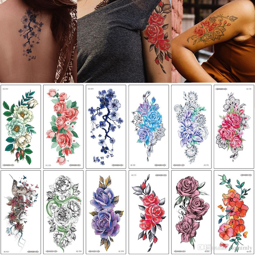 Colored Flower Temporary Tattoo Lace Rose Peony Flower Design Fashion Beauty Sexy Clavicle Arm Leg Art Waterproof Body Makeup Tattoo Sticker